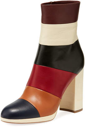 Valentino Colorblock Leather Ankle Boots