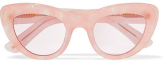 GANNI - May Cat-eye Glittered Acetate Sunglasses - Pink $195 thestylecure.com