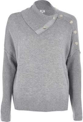 River Island Womens Grey popper detail sweater