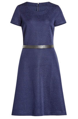 HUGO Textured Dress with Leather Belt