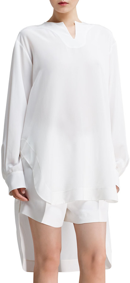 Chloé Long-Sleeve Silk Crepe de Chine Blouse, Milk