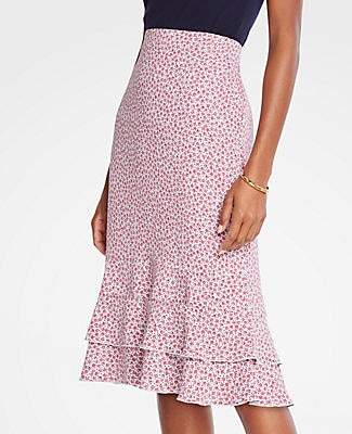 Ann Taylor Petite Floral Double Flounce Pencil Skirt