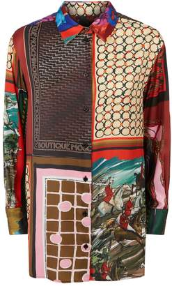 Moschino Scarf Print Satin Shirt