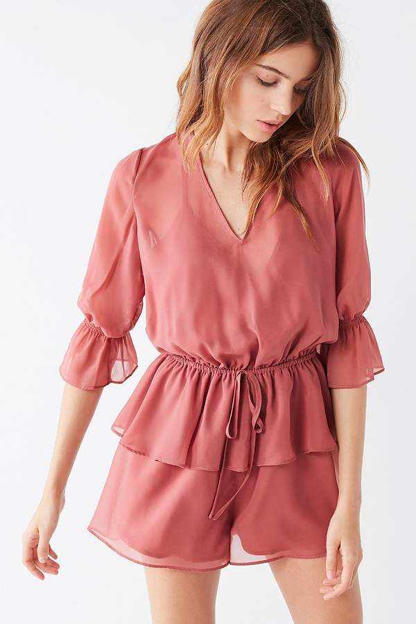 The Fifth Label The Fifth Brushstrokes Tiered Ruffle Romper