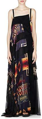 Sacai Women's Mixed-Media Maxi Dress - Navy