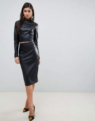 Forever Unique faux leather top and skirt co ord