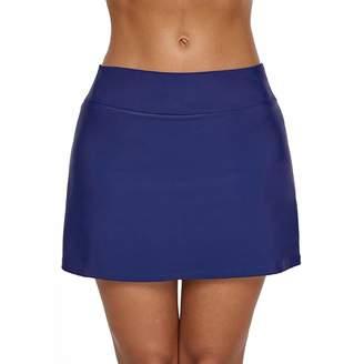 aef4e26bd46 Trunks Fulision Women Solid Color high Waist Skirt Swim Bikini high Waist  Swim