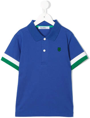 Familiar striped sleeves polo shirt