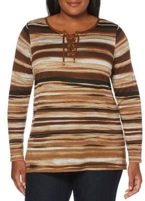 Rafaella Plus Lace-Up Striped Top