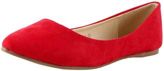 Bella Marie Angie-53 Women's Classic Pointy Toe Ballet PU Slip On Suede Flats 7.5