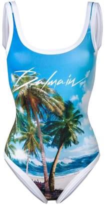 Balmain palm tree logo swimsuit