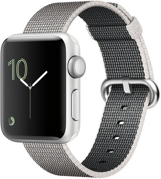 Apple Watch Series 2 38mm Silver Aluminum Case with Pearl Woven Nylon Band $369 thestylecure.com