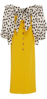 Carolina Herrera Off-The-Shoulder Polka-Dot Silk Maxi Dress