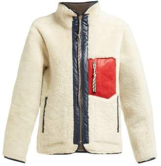 Aries Pat Leather Trimmed Shearling Jacket - Womens - Ivory