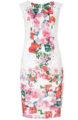 Quiz Cream Floral Print Scoop Back Midi Dress