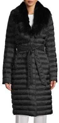 T Tahari Faux Fur-Trimmed Down Puffer Coat