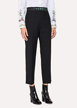 Paul Smith Women's Slim-Fit Black Wool-Mohair Trousers With Jewel Embellishment