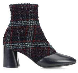 3.1 Phillip Lim Drum Tweed& Leather Heeled Ankle Boots