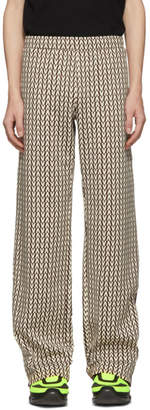 Valentino Burgundy and Off-White Optical Print Lounge Pants