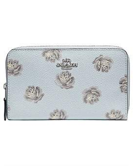 Coach Rose Print Medium Zip Around Wallet