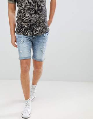 Blend of America skinny denim shorts with distressing