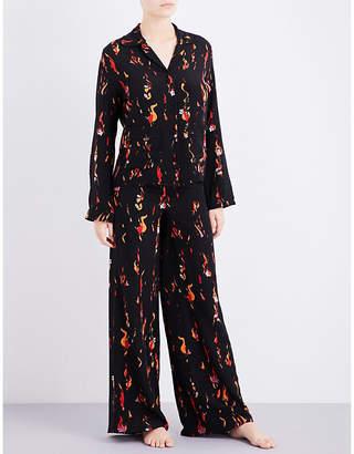 Rockins Flower and Flames silk-crepe pyjama set $540 thestylecure.com