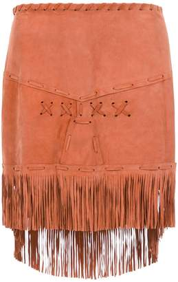 Andrea Bogosian leather short skirt with fringes