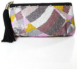 Emilio Pucci Emilio Pucci Black Pink Lavender White Sequin Color Blocked Clutch