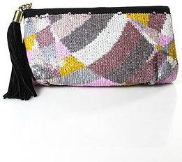 Emilio PucciEmilio Pucci Black Pink Lavender White Sequin Color Blocked Clutch