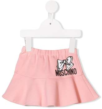 Moschino Kids logo bow print skirt
