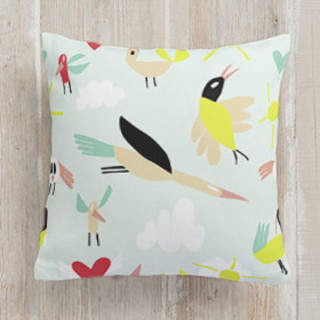 Feather Party. Square Pillow