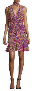 SALONI Fleur-Print Silk Choker Dress $445 thestylecure.com
