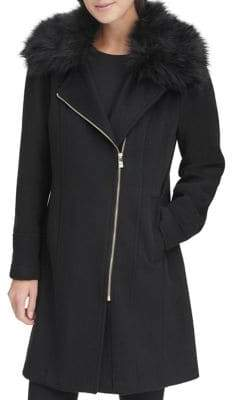Karl Lagerfeld Paris Faux Fur Asymmetrical Woold-Blend Coat