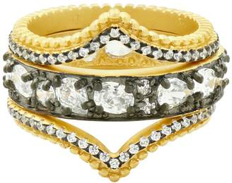 Freida Rothman 14K Yellow Gold & Black Rhodium Plated Sterling Silver Pave CZ Double Arc Stacked Ring Set - Size 8
