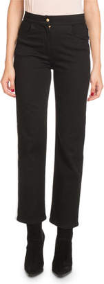 Balmain High-Waist Side-Stripe Straight-Leg Denim Pants