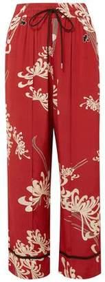 McQ Printed Crepe De Chine Wide-Leg Pants