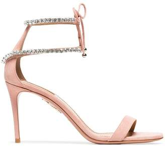 Aquazzura pink crillon 85 suede leather sandals