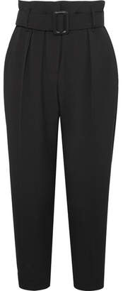 Brunello Cucinelli Cropped Belted Crepe Pants - Black