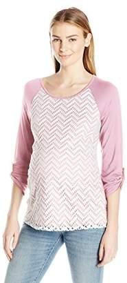 Three Seasons Maternity Women's Maternity 3/4 Sleeve Lace Front Top, XL