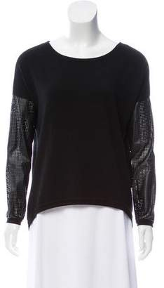 Generation Love Vegan Leather-Trimmed Long Sleeve Top
