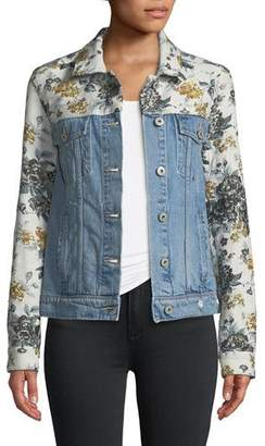 Paige Harrison Button-Front Denim Jacket with Floral Embossing