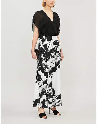 Roland Mouret Ladies Black and White Floral Abstract-Print Chandon Crepe Dress