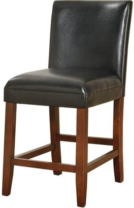 "HomePop 24"" luxury black faux leather barstool"