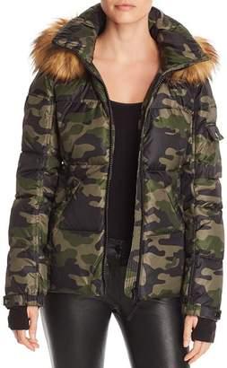 Aqua Faux Fur-Trim Camo Hooded Puffer Jacket - 100% Exclusive