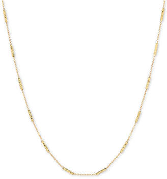 "Macy's Open Chain & Textured Bar 18"" Statement Necklace in 10k Gold"