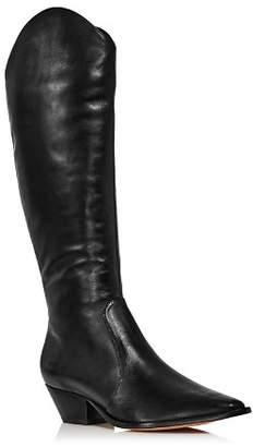 Schutz Women's Fantinne Pointed Toe Leather Western Boots