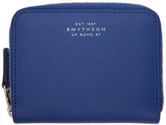 Smythson Blue Panama Zip Coin Purse