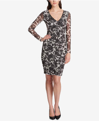GUESS Floral Ruched Bodycon Dress