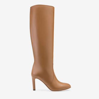 Bally Bounty Brown, Women's calf nappa leather high boot with 85mm heel in cowboy