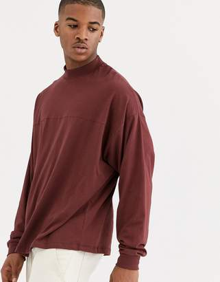 Asos Design DESIGN oversized long sleeve t-shirt with seam in brown